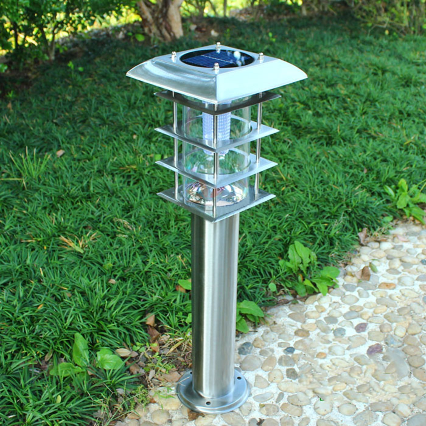 Solar Powered LED Outdoor Garden Landscape Light- Waterproof Garden Pathway Lights for Outdoor, Yard, Driveway, Lawn -Stainless Steel,Silver ,Square