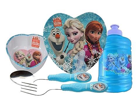c2b98020ea Zak! Designs Girls Elsa & Anna Mealtime Set! Includes Heart Shaped Plate &  Bowl