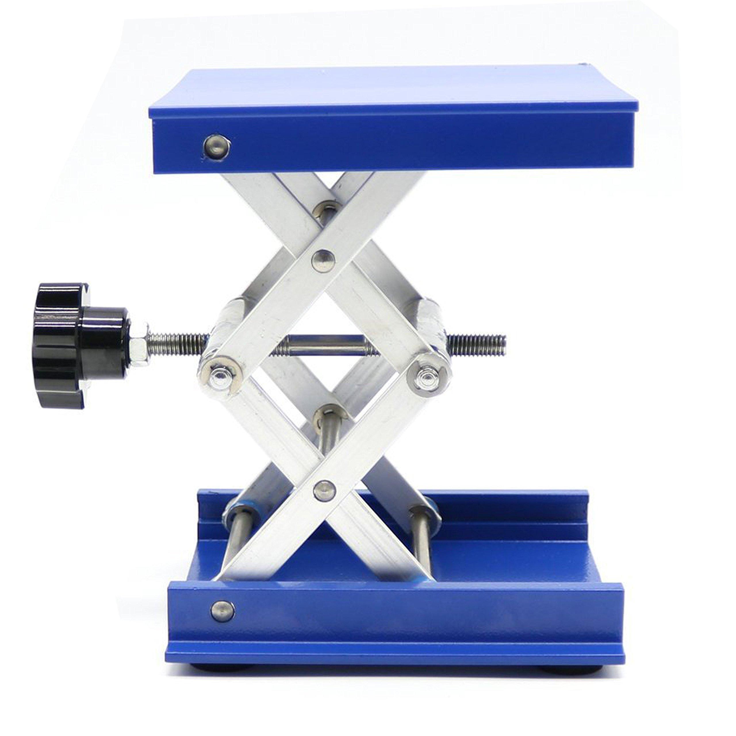 OESS Lift Table Aluminium Oxide Lab Stand Lifter Scientific Scissor Lifting Jack Platform 4''X4''