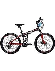 "Bicicleta Plegable de Montaña Modelo ""Klamp"" con Amortiguadores, Suspensión Delantera y Trasera, Rodada 26 21 Velocidades (Roja)"
