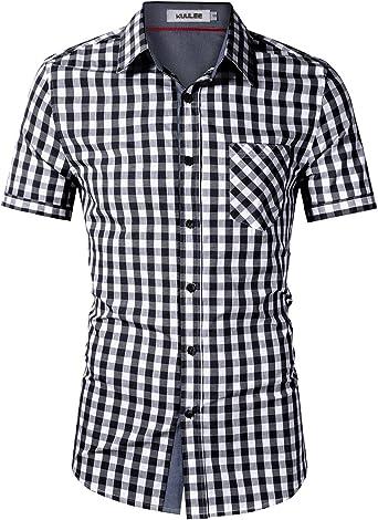KoJooin Camisa a Cuadros Hombre Camisa de Manga Corta Slim fit - 100% algodón, algodón Negro 2XL: Amazon.es: Ropa y accesorios
