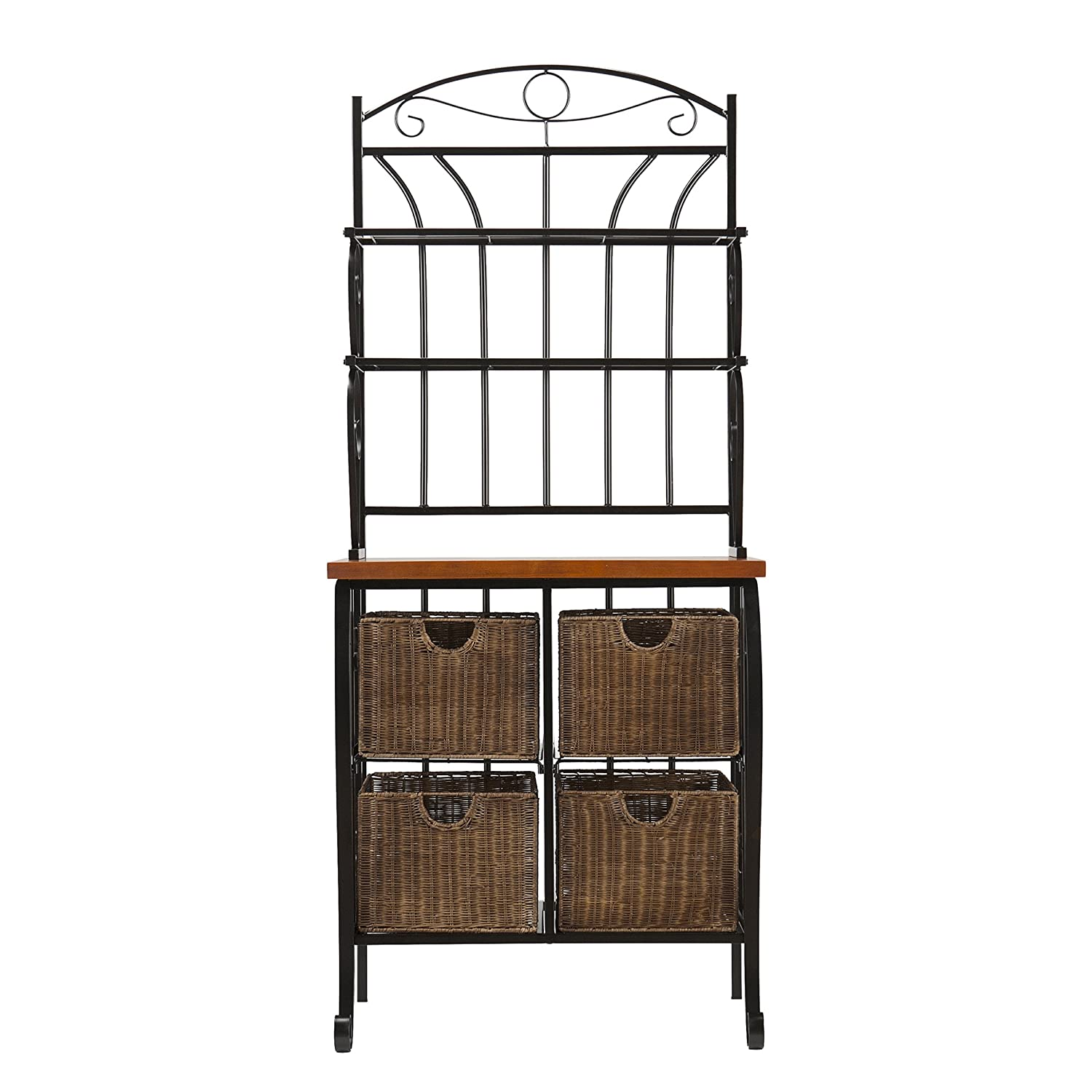 Southern Enterprises Wrought Iron Bakers Rack with Scroll Work Black Finish