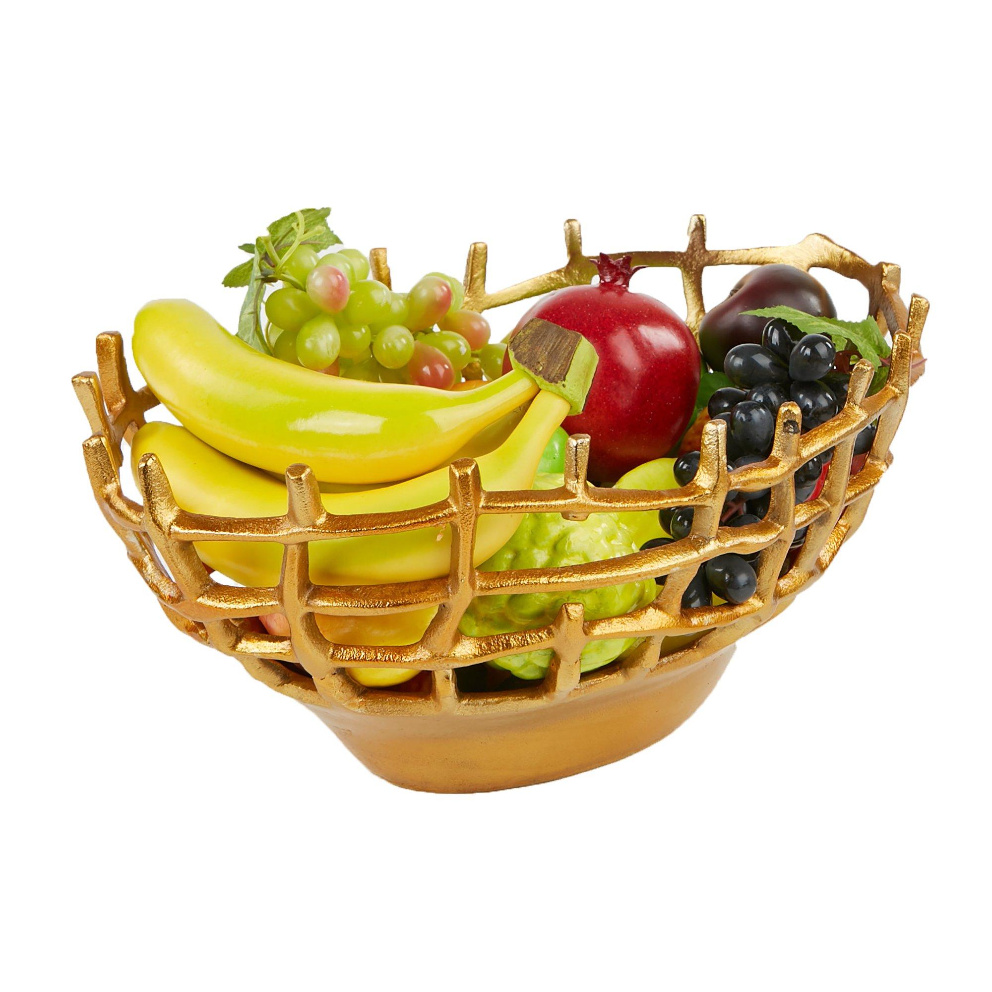 Mind Reader Fruit Bowl, Fruit Holder, Fruit Basket, Aluminum Decorative Snack Storage, Gold