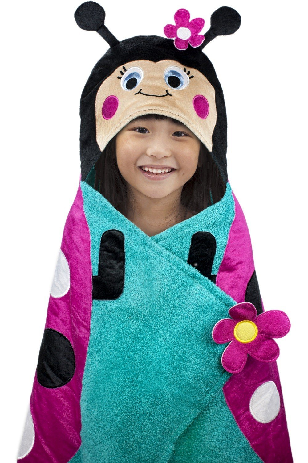 Hooded Towel For Kids, Oversize Cotton Character Hood Towel - Makes Getting Dry Fun - Ideal Beach Towels for Toddlers and Small Children - Use at the Pool or Bath Time, 26 x 45'', Pink/Blue Ladybug