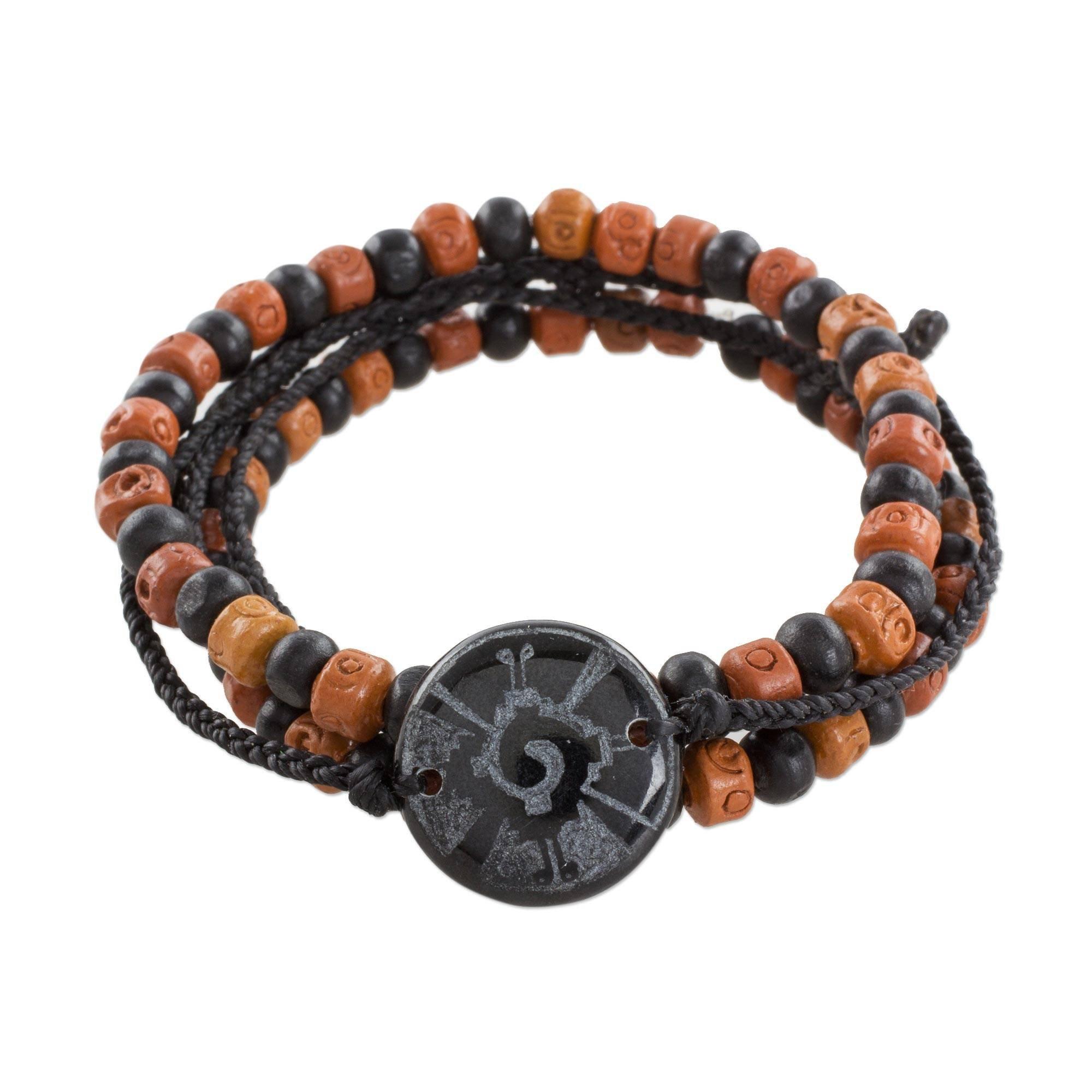 NOVICA Jade Wood Men's Stretch Beaded Bracelet 'Hunab Ku's Protection'