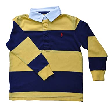 a96bef9500862 Ralph Lauren Boys Striped Rugby Top Yellow and Navy (5   4yrs   115cm)   Amazon.co.uk  Clothing
