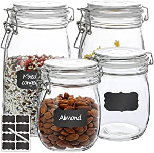 Airtight Glass Jars, VERONES 2 PACK 27 OZ & 2 PACK 50 OZ Round Glass Canister Set with Wide Mouth Leak-Proof Fit for Food Storage, Canning, Cereal Container
