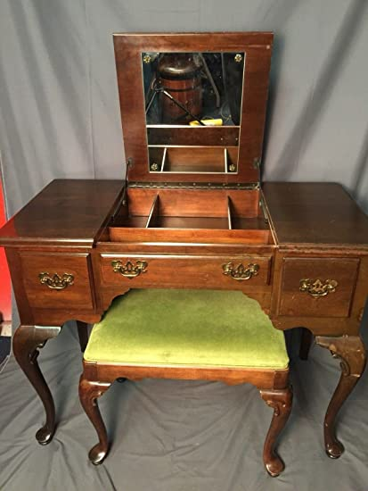 Ethan Allen Georgian Court Mahogany Vanity With Bench Solid Wood Made In USA