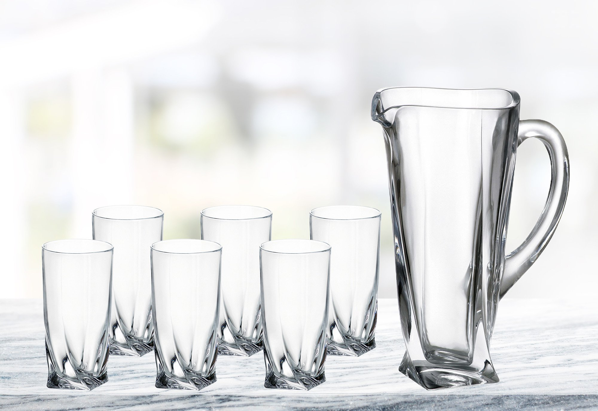 (D) Bohemian Crystal ''Quadro'' 7-pc Pitcher Water Set, Lead Free