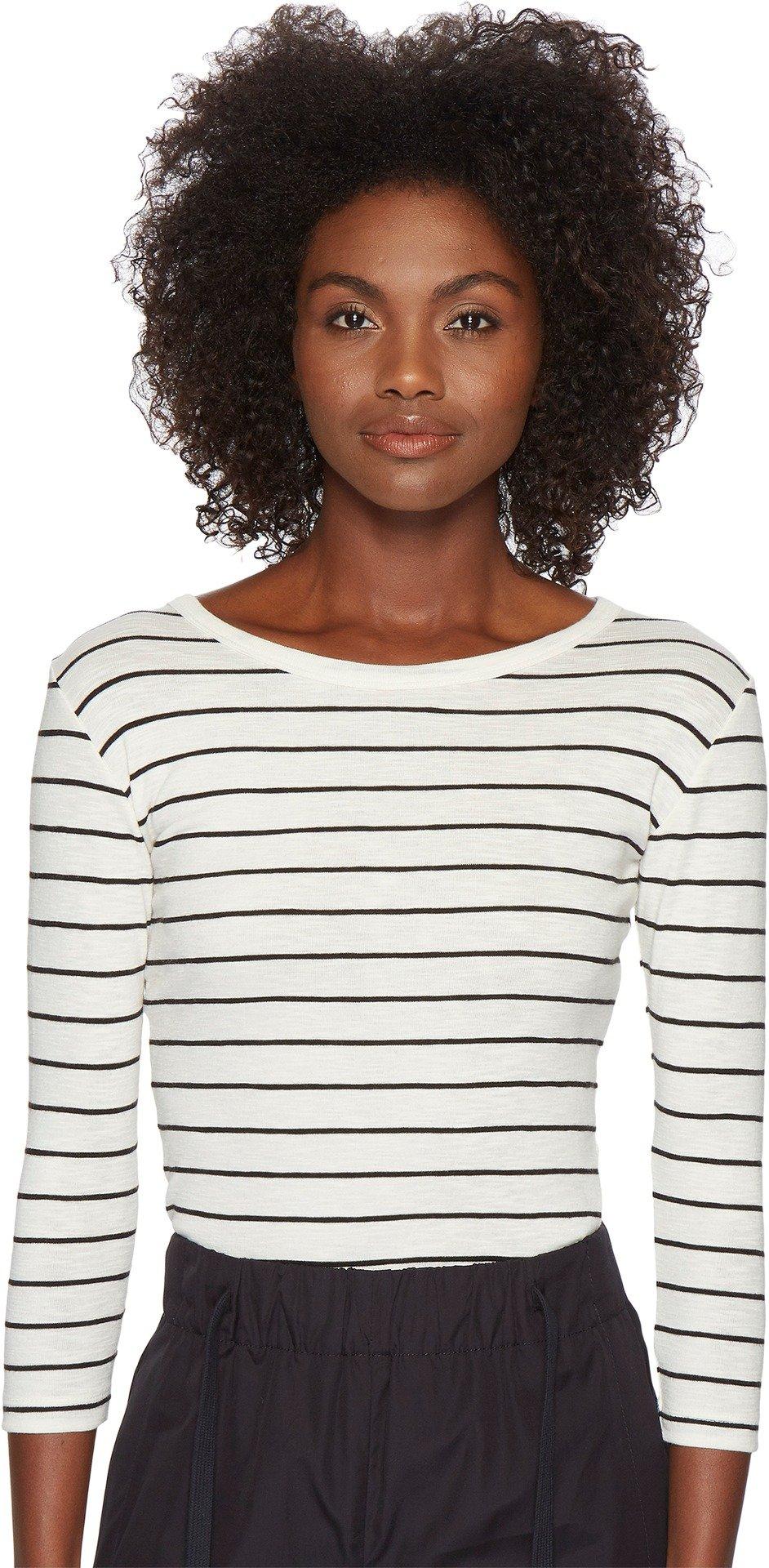 Vince Women's Chalk Stripe 3/4 Sleeve Crew Top Off-White/Black Small