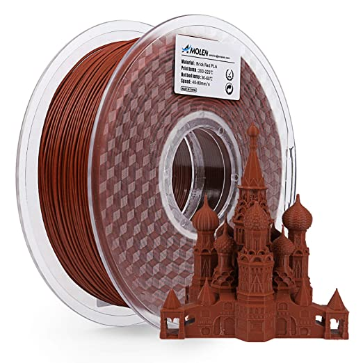 AMOLEN PLA Filamento Impresora 3D 1.75mm Ladrillo Rojo 1KG,+/- ...
