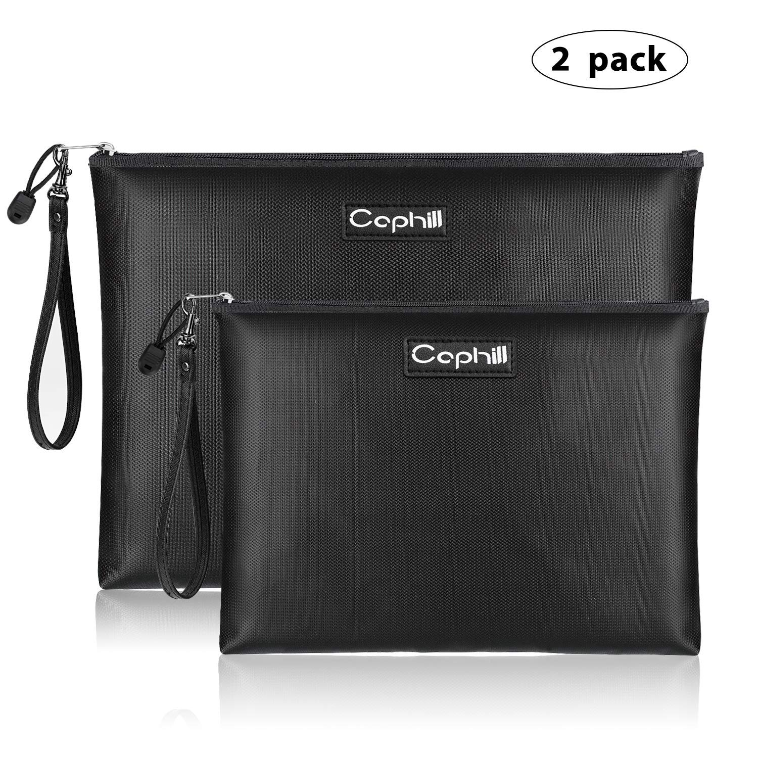 Fireproof Document Bags, Waterproof and Fireproof Money Bag with Zipper, Storage Pouch for Documents with Strap, Portable 2 Sizes, Money Safe Bags, Bank Deposit Bags for Money and Cash and Coin by Caphill