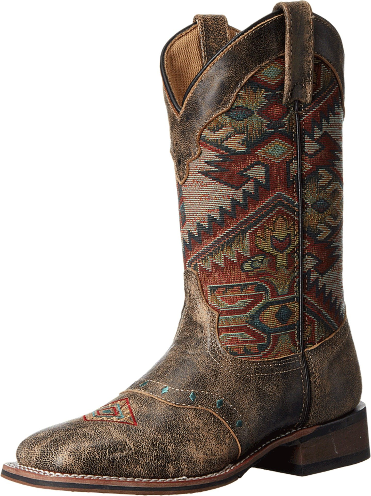 Laredo Women's Taupe With Aztec Top Boot Square Toe Taupe 7 M by Laredo (Image #1)