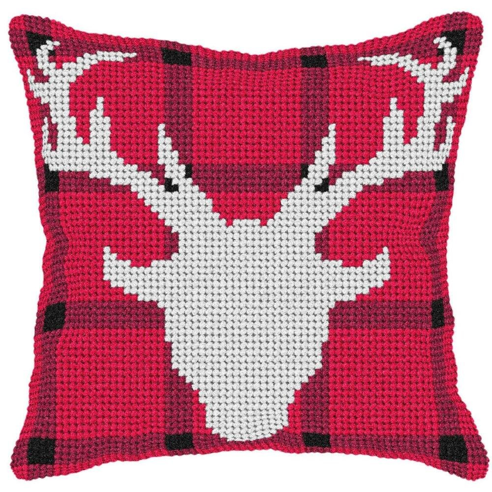 Orchidea Deer Head Silhouette Pillow Cover Needlepoint Kit