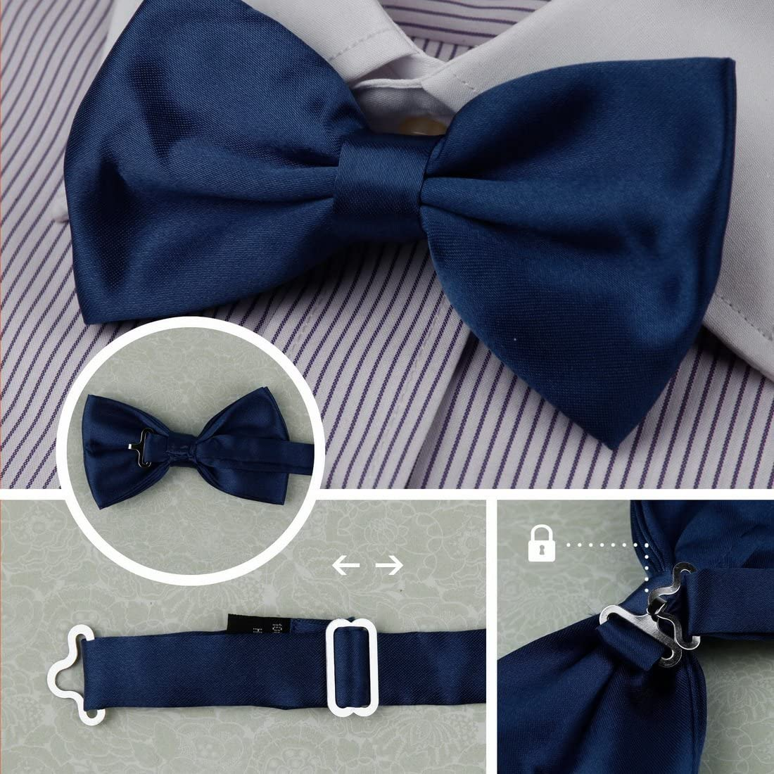 Dan Smith Mens Fashion Series Colors Stripes Microfiber Bow Tie With Free Gift Box