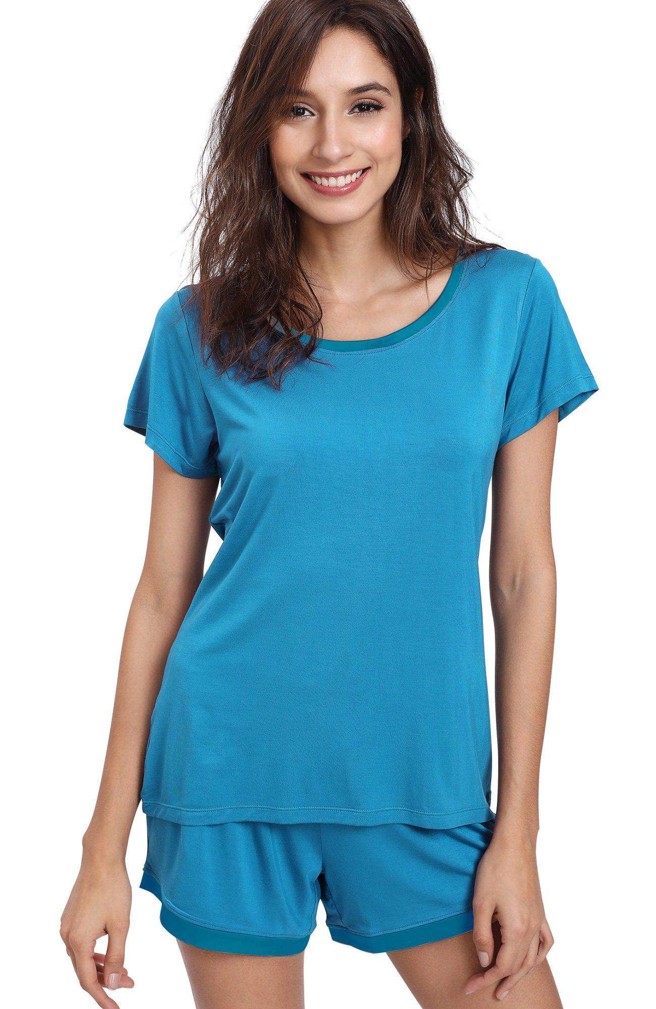 GYS Women's Soft Scoop Neck Shorts Pajama Set (M,Capri Blue)