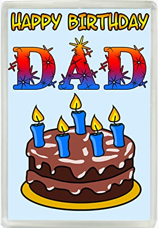 Happy Birthday Dad Cake And Candles Jumbo Fridge Magnet Gift 495