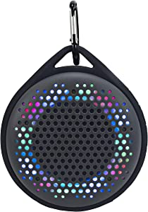 MAGNAVOX MMA3623-GY Outdoor Waterproof Speaker with Color Changing Lights in Grey | Bluetooth Wireless Technology | Rechargeable Battery | Dust Protected and Waterproof |