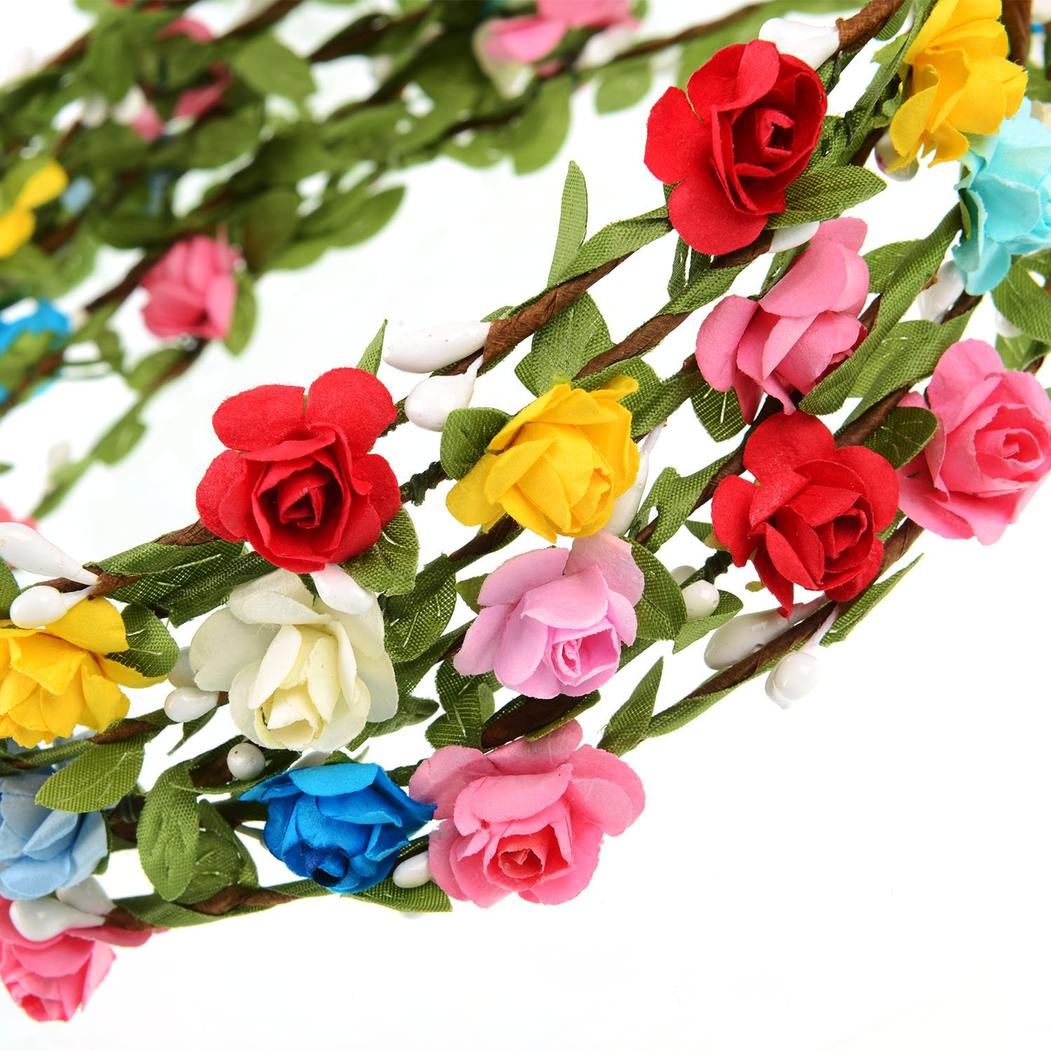 Amazon eboot 15 pieces assorted colored flower crown wreath amazon eboot 15 pieces assorted colored flower crown wreath headband garland headbands for wedding festival party vacation photography props beauty izmirmasajfo