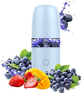 Wind Talk Portable Blender 330ml Shakes and Smoothies, Portable Smoothie Blender Small Mini Handheld Blender Cup for Baby Food Protein Shake Kitchen Travel Office Sport Gym, USB Rechargeable Blue