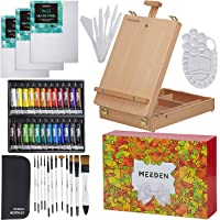 MEEDEN Acrylic Painting Set - Easel Art Set Solid Beech-Wood Studio Sketch Easel Box, 24×12ML Acrylic Paints, Canvas…