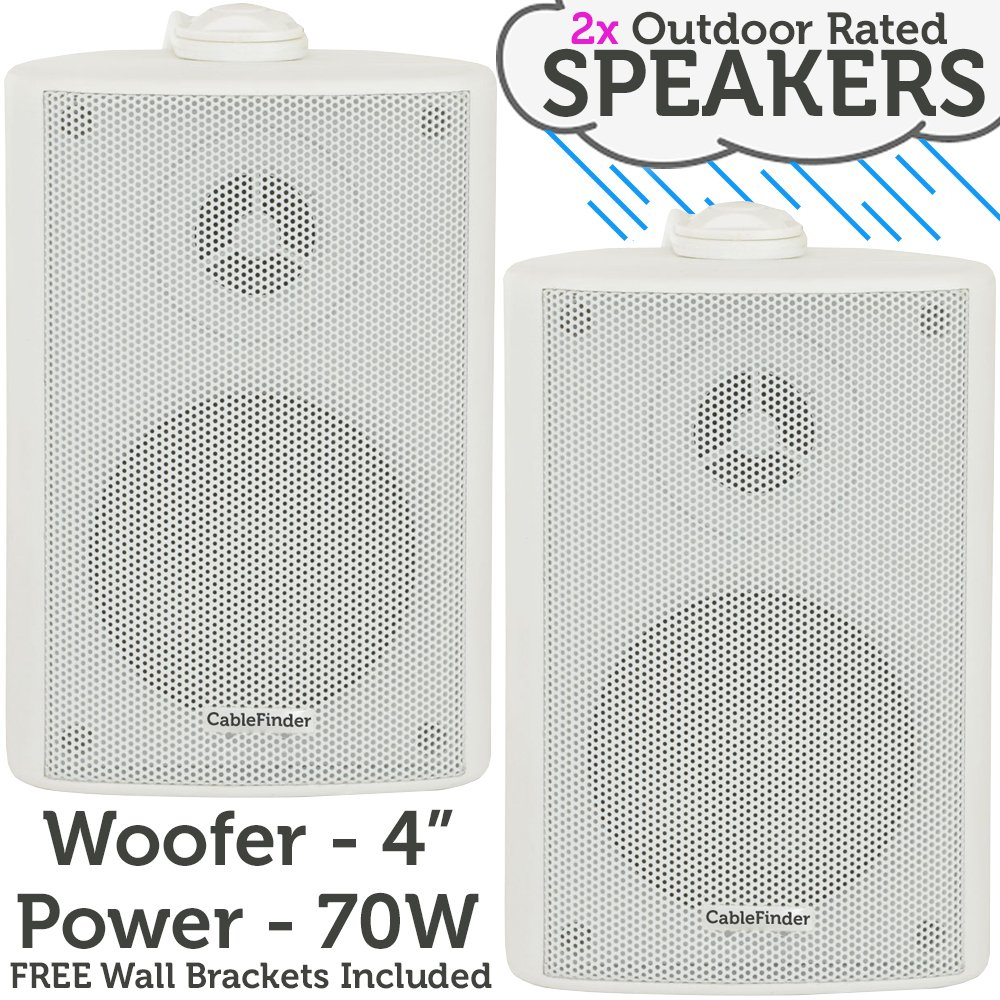 """(PAIR) 2x 4"""" 70W White Outdoor Rated Speakers *Wall Mounting HiFi Brackets Included* 8Ohm & 100V Perfect for Outside Garden Parties, Rain & Weatherproof IP54 Passive Cabinet - Loops 3051x2"""