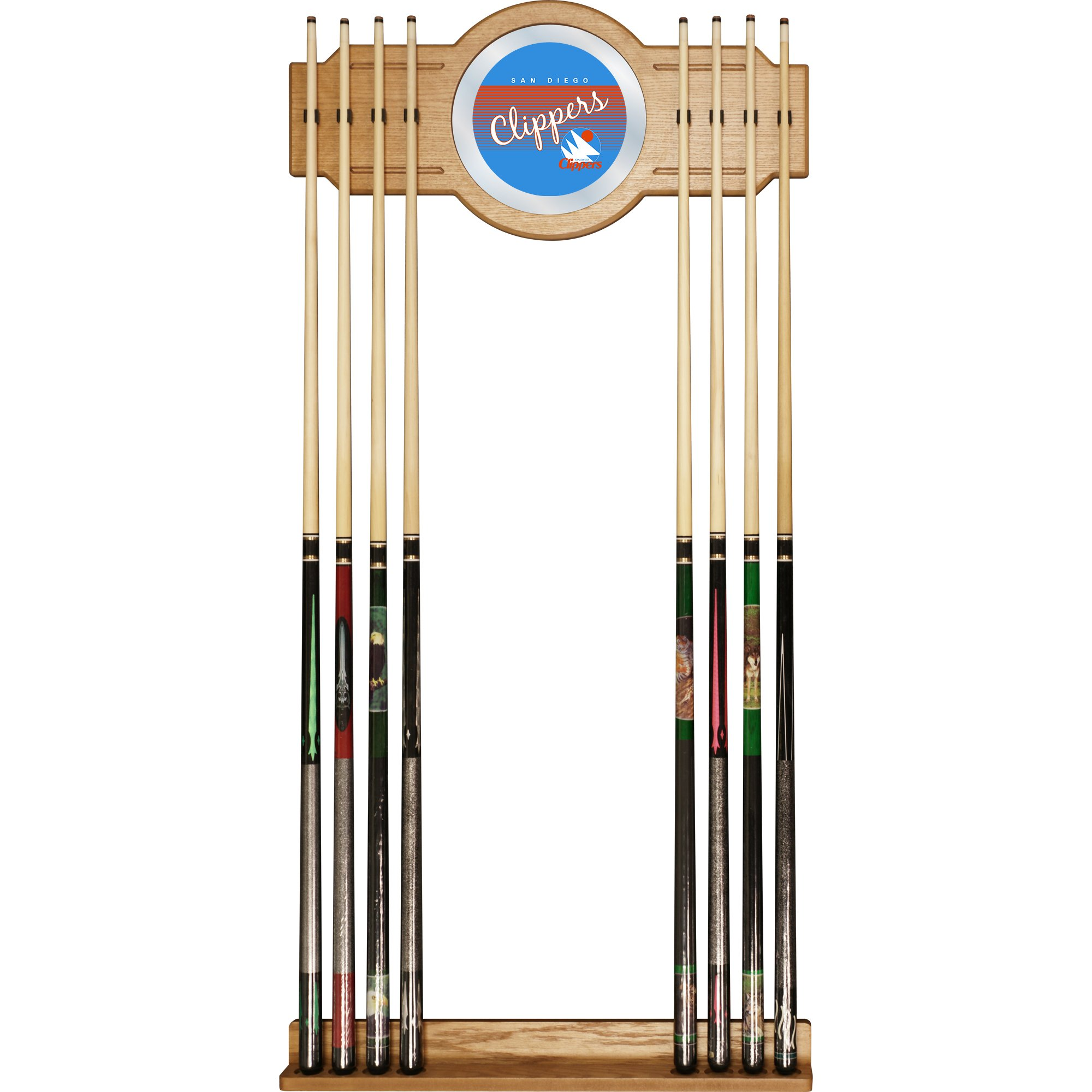Trademark Global NBA San Diego Clippers Cue Rack with Mirror, One Size, Brown