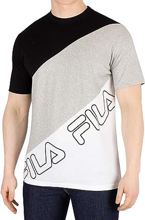 Fila Hombre Camiseta Grove Bloque Diagonal, Blanco: Amazon.es: Ropa y accesorios