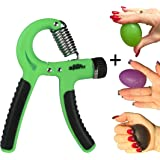 Elite Sportz Adjustable Hand Grip Exerciser and 3 Hand Grip Strengthener Balls, Combine to make a Great Grip Strength Trainer Set - Resistance Range of 22lbs to 88lbs
