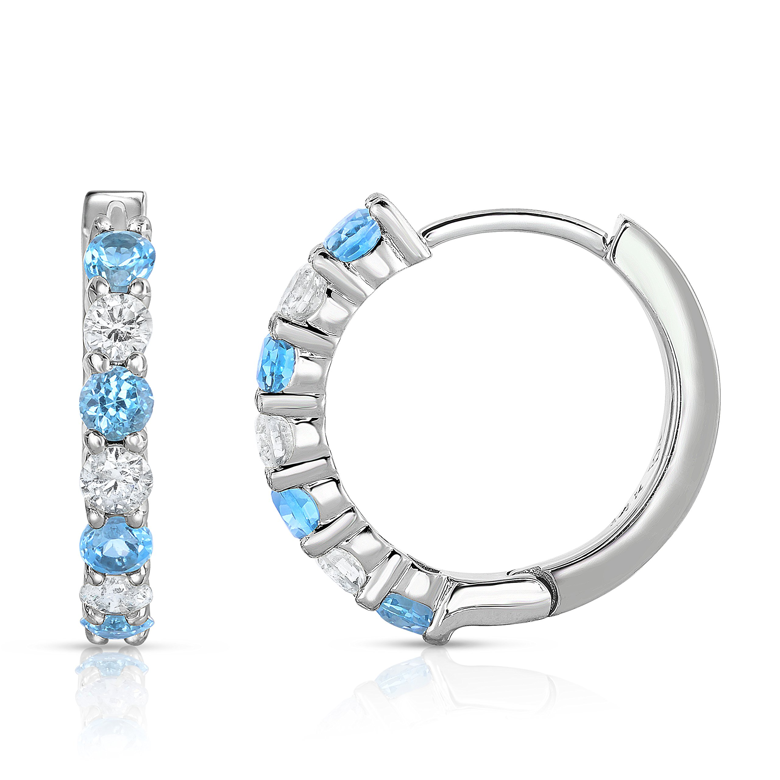 Noray Designs 14K White Gold Blue Topaz & Diamond (0.45 CT, G-H Color, SI2-I1 Clarity) Hoop Earrings