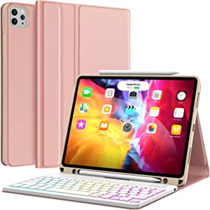 Keyboard Case for iPad Pro 11 2020 2nd Generation, iPad Pro 11 Case with Keyboard 2018-7 Backlight & Detachable - with Pencil Holder - Flip Stand Cover - iPad Pro 11 inch Keyboard for Tablet, Rose B