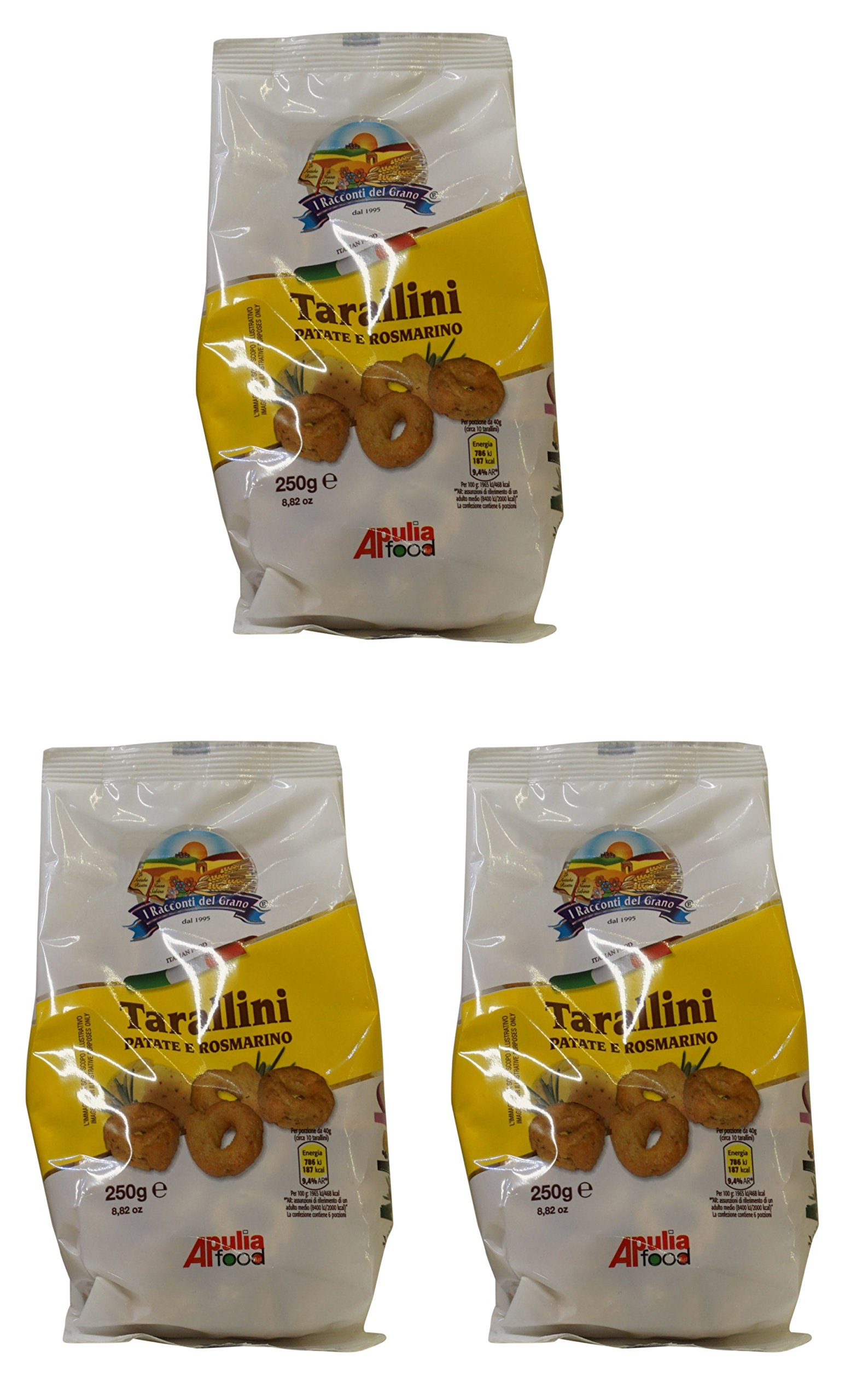 I Racconti del Grano:''Tarallini Patate e Rosmarino'' Italian Taralli, Potatoes and Rosemary Taste - 8.82 Ounces (250gr) Packages (Pack of 3) [ Italian Import ]