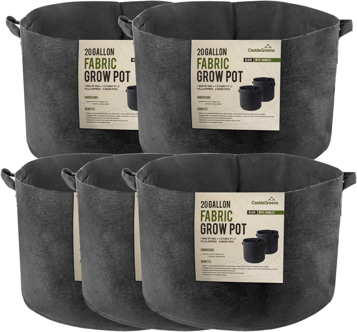 CastleGreens 20 Gallon Grow Bags, 5-Pack Thickened Non-Woven Fabric Pots with Durable Handles, Improved Garden Root-Controlling Container, Design for Vegetables, Fruits, Flowers, Easy to Move(Black)