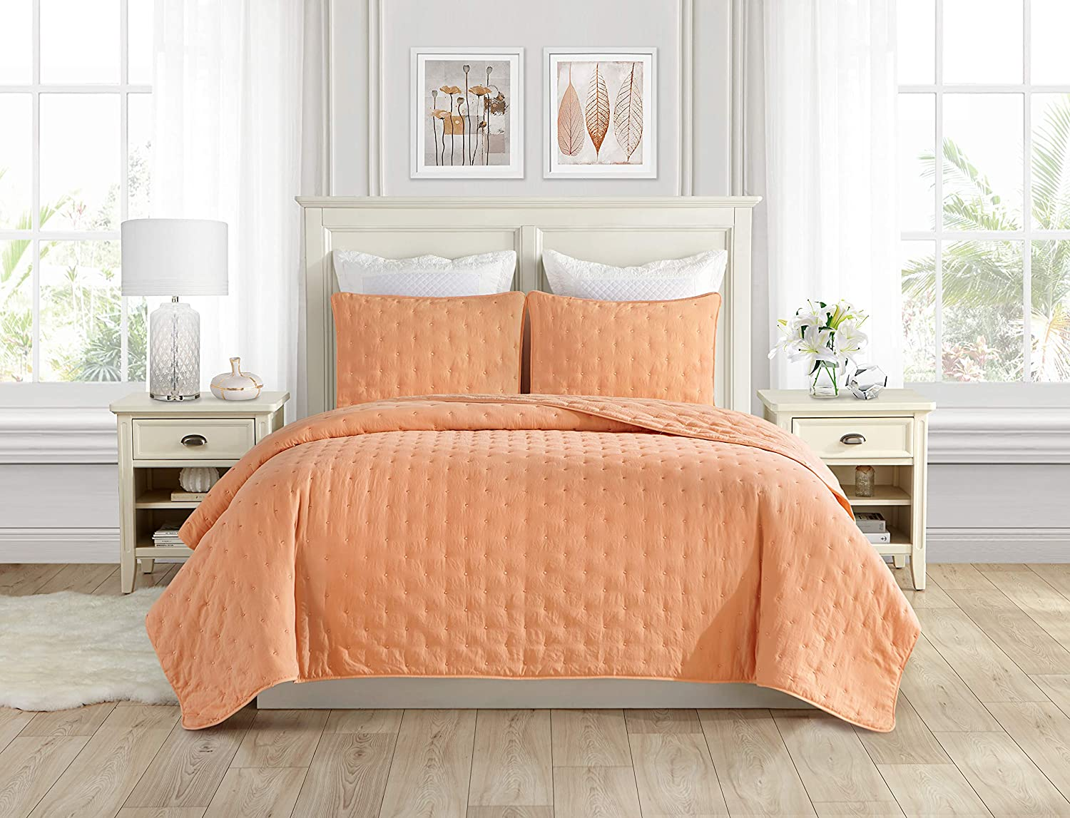 Swift Home Premium Bedding Set Collection 3pc Pre-Washed Quilt Coverlet Bedspread, Ultra Soft Microfiber Lightweight, Hypoallergenic Luxurious Oversized Quilt Bed Set All Season - King, Peach