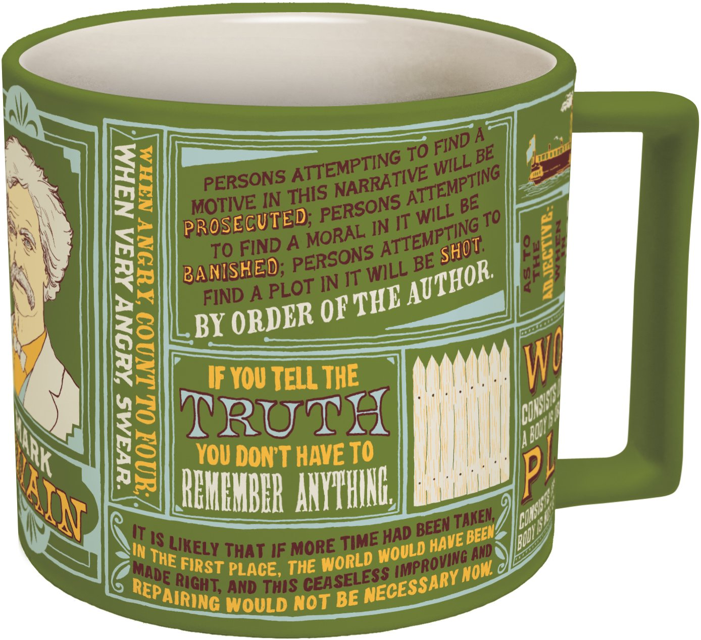 Mark Twain Coffee Mug - Twain's Most Famous Quotes and Depictions - Comes in a Fun Gift Box by The Unemployed Philosophers Guild (Image #1)