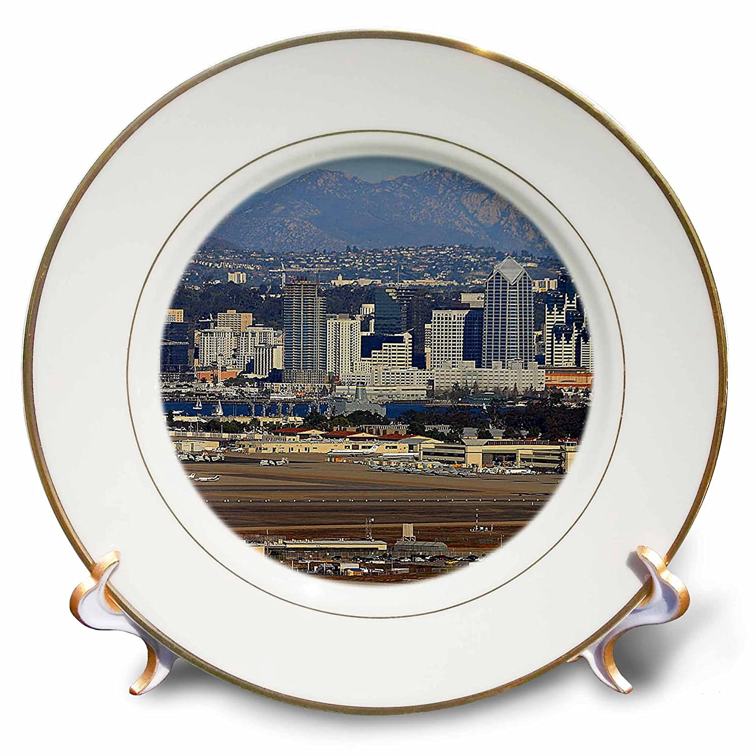 8-Inch 3dRose cp/_21691/_1 San Diego Downtown Porcelain Plate