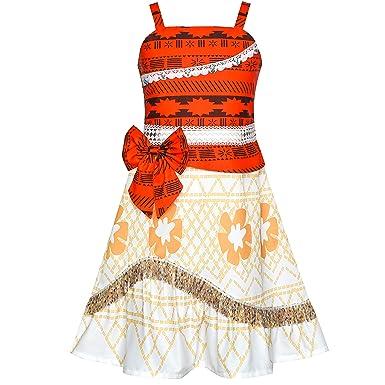 Amazon.com: Sunny Fashion Girls Dress Moana Costume Cartoon Cosplay  Halloween Princess: Clothing