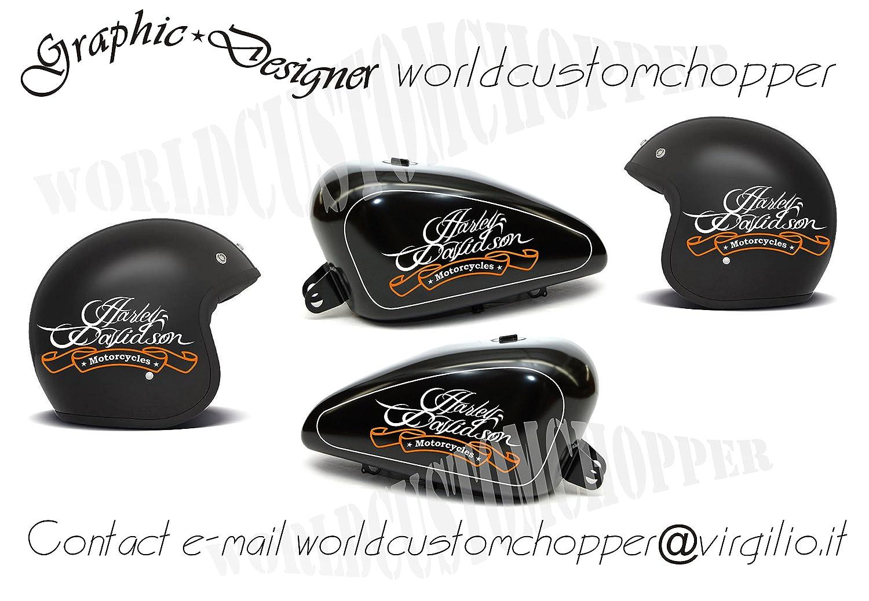 Pegatinas Decal Stickers Kit de depósito + 2 de casco Harley Davidson Moto Custom: Amazon.es: Coche y moto
