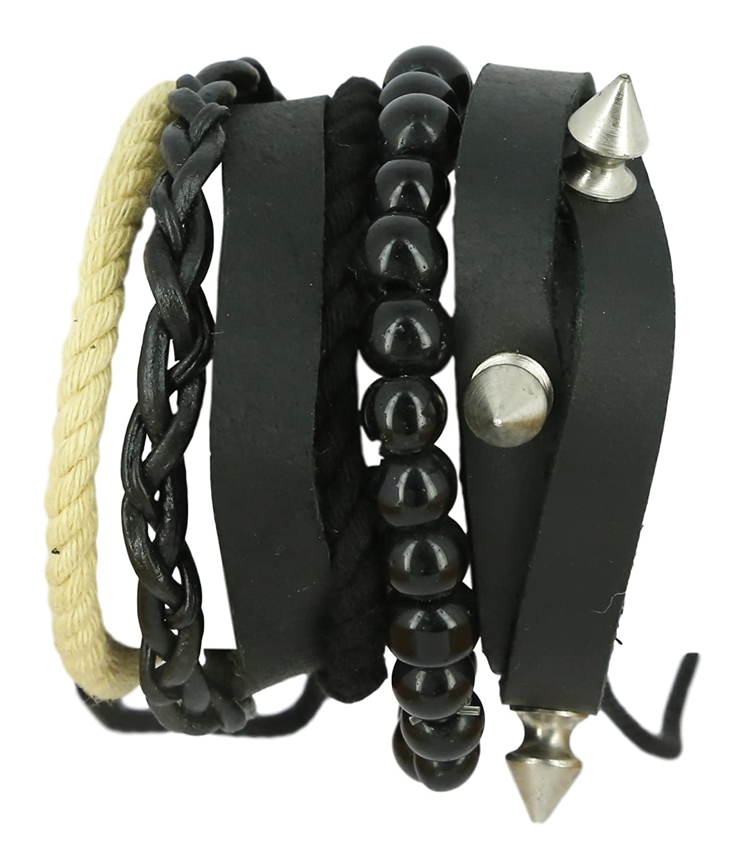 ShalinIndia Cuir Multicouche Bracelet pour Homme Cadeau danniversaire pour Lui