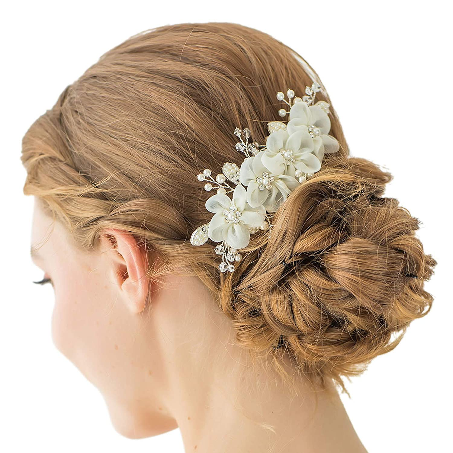 SWEETV Silver Bridal Flower Hair Comb Wedding Rhinestone Side Comb Hair Accessories Hairpiece Head Pieces for Women