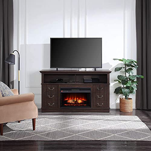 BELLEZE Electric Fireplace 60″ TV Stand Media Console Table