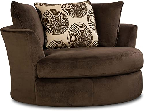 Chelsea Home Furniture Rayna Swivel Chair, Groovy Chocolate Big Swirl Chocolate