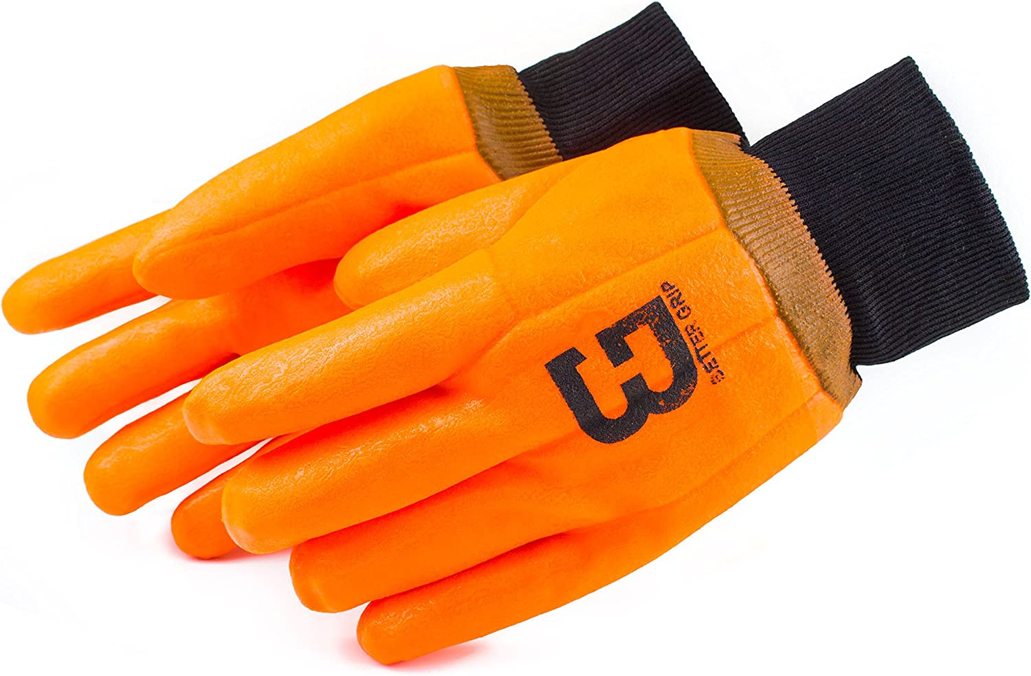 (Box Deal) Better Grip BG105ORGKW Heavy Duty Premium Sandy finished High Visibility PVC Coated Gloves with Knit Wrist, Chemical Resistant, One Size (72 pair- 1 Case)
