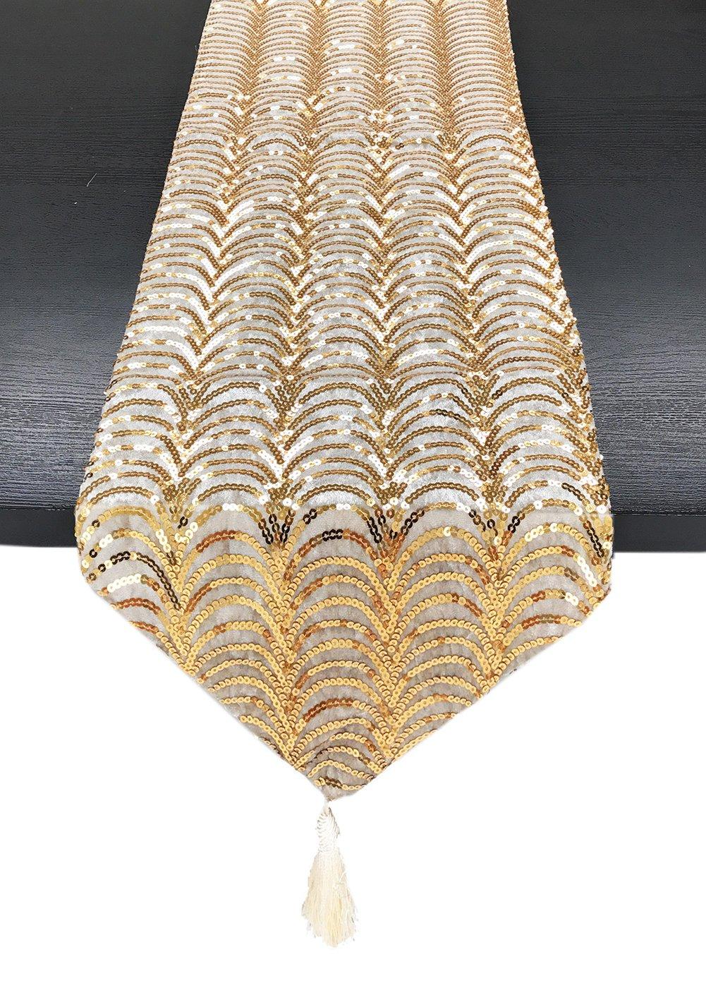 Elegant hand sewn champagne gold sequin and velvet table runner - ChristmasTablescapeDecor.com