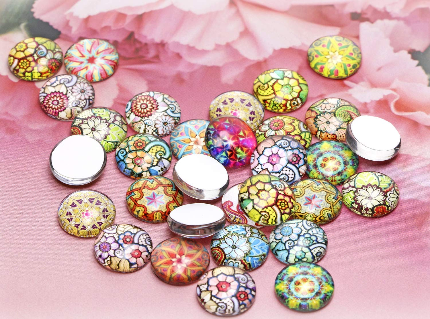 Necklace Bezel Pendant Setting Trays Penta Angel 12mm 100Pcs Mosaic Printed Half Round Glass Dome Cabochons Tiles Colored Pattern Charms for DIY Craft Photo Charms Jewelry Making Earrings