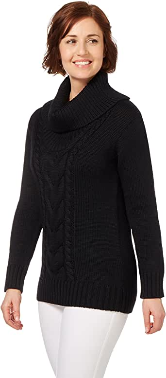 WoolOvers Ladies Pure Wool Aran Cable Cowl Neck Sweater ...