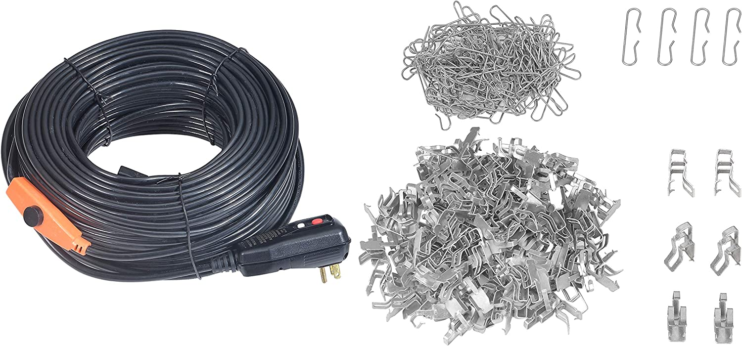 SEAL Roof /& Gutter Snow Melt Cable Kit-with Spacer and Clips,240Ft-120V,with GFCI for De-Icing Heater Cable Kit Leakage Protector