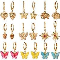 9/10/12 Pairs Gold Small Hoop Earrings Pack with Charm-Silver Mini Hoop Dangle Earrings with Charm- Huggie Hoop Earrings…
