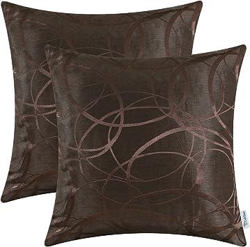 2Pcs Amber Gold Pillows Cushion Covers Modern Circles Rings Geometric 45 x 45cm