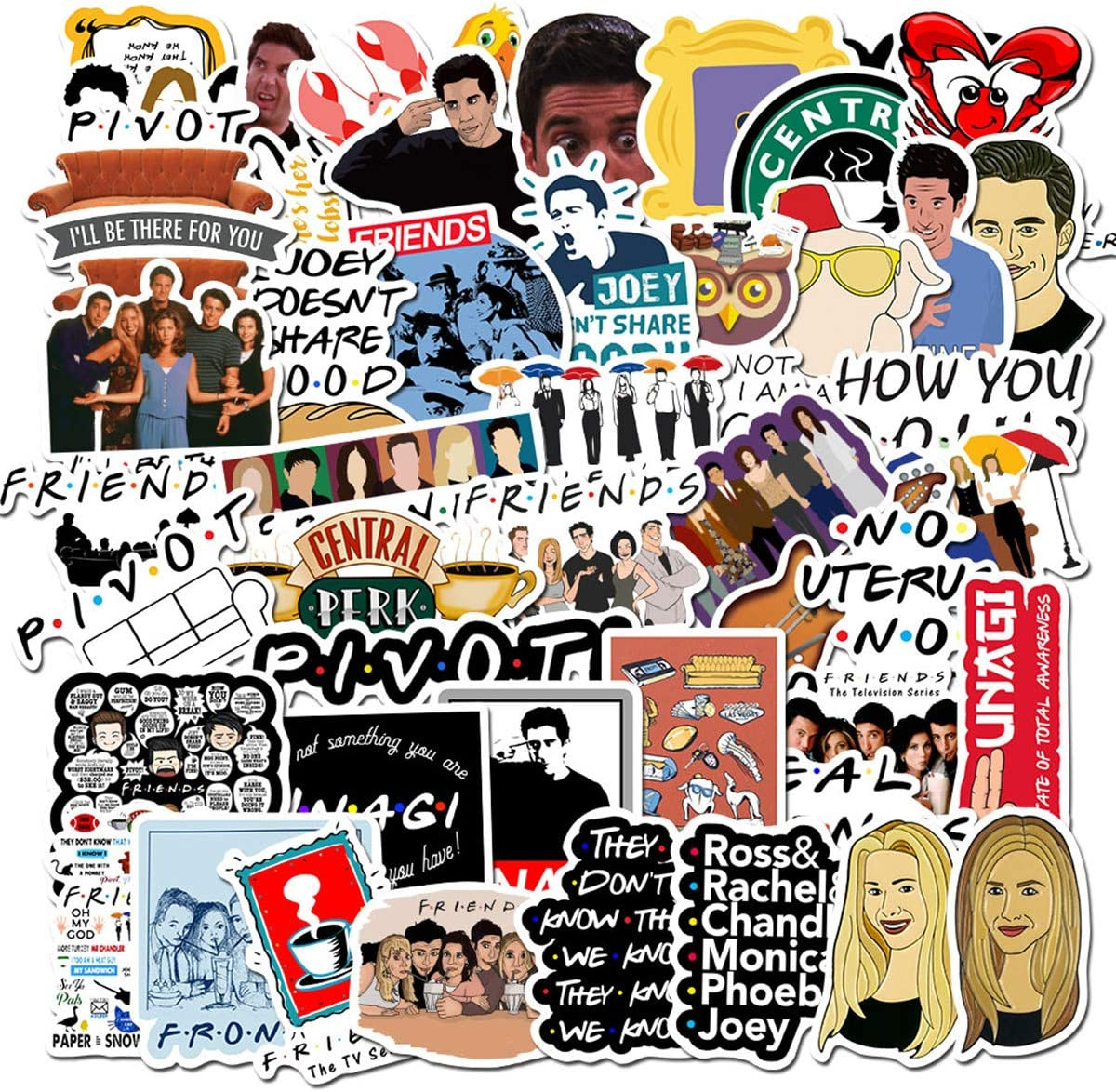 50PCS Movie Friends Themed Vinyl Stickers for Personalize Laptop, Car, Helmet, Skateboard, Luggage Graffiti Decals (Friends)